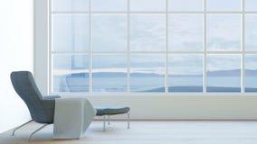 El interior moderno de la vista al mar de la sala de estar con la butaca oscura y el terciopelo/3d rinden imagen Imágenes de archivo libres de regalías