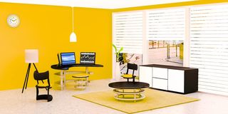El interior moderno del sitio de trabajo, equipo de escritorio negro 3 puso en una tabla de cristal delante de la pared amarilla stock de ilustración