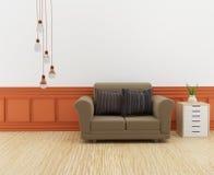 El interior moderno del sofá en el cuarto con el estante en 3D rinde imagen Imagen de archivo libre de regalías