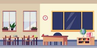 El interior vacío de la sala de clase, vector el ejemplo plano Elementos de los muebles y del diseño de escuela De nuevo al fondo libre illustration