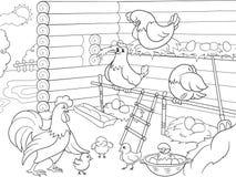 El interior y la vida de pájaros en el colorante del gallinero de pollo para la historieta de los niños vector el ejemplo Imagen de archivo