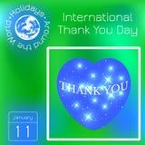 El International le agradece día Corazón del espacio Calendario Días de fiesta en todo el mundo Fondo verde de la falta de defini ilustración del vector