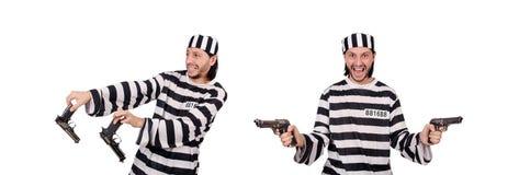 El interno de la prisión con el arma aislado en blanco Imágenes de archivo libres de regalías