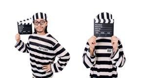 El interno divertido de la prisión con el tablero de la película aislado en blanco fotos de archivo libres de regalías