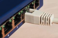 El interruptor del router del módem con el enchufe de Ethernet RJ45 vira hacia el lado de babor Imagenes de archivo