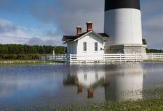 El inundar en Bodie Island Lighthouse North Carolina Imagen de archivo
