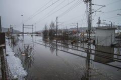 El inundar en el río Imágenes de archivo libres de regalías