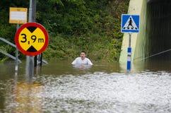 El inundar en Suecia Imágenes de archivo libres de regalías