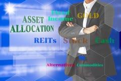 El inversor con el presentaion de la asignación del activo en virtual Imagen de archivo