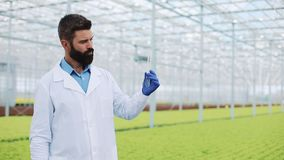 El investigador toma el agua en un tubo de ensayo que se coloca en un invernadero y que mira en la cámara Retrato agrícola metrajes
