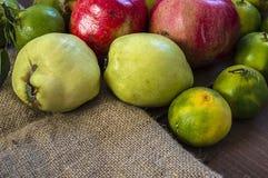 El invierno da fruto en el piso de madera, membrillo, granada, imágenes del mandarín Fotografía de archivo