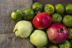 El invierno da fruto en el piso de madera, membrillo, granada, imágenes del mandarín Imagenes de archivo