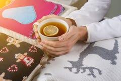 El invierno del fondo de la Navidad viste con los modelos tradicionales, té caliente con el limón Fotografía de archivo libre de regalías