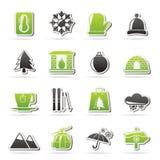 El invierno, deporte y relaja iconos Foto de archivo libre de regalías