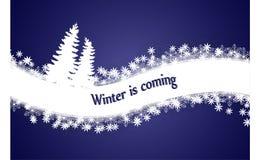 El invierno está viniendo Fondo del invierno con la onda de la nieve, árboles de navidad, fondo azul marino Ilustración del vecto stock de ilustración