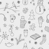 El invierno garabatea el modelo inconsútil dibujado mano Fotografía de archivo libre de regalías