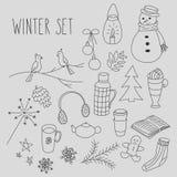 El invierno garabatea el sistema dibujado mano Fotos de archivo libres de regalías