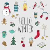 El invierno garabatea el sistema dibujado mano Foto de archivo
