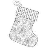 El invierno hizo punto el calcetín para el regalo de Papá Noel en estilo del zentangle Fotografía de archivo libre de regalías