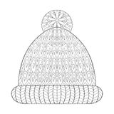 El invierno hizo punto las manoplas del casquillo en el zentangle, estilo monocromático tribal Imagen de archivo libre de regalías