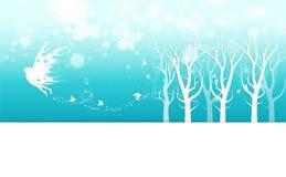 El invierno, la fantasía de hadas con la invitación del cartel de la mariposa, la niebla, los copos de nieve y las estrellas disp stock de ilustración