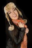 El invierno que lleva de la muchacha adolescente americana asiática linda viste Imagen de archivo