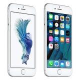 El iPhone de plata 6s de Apple giró levemente vista delantera con IOS 9