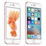 El iPhone 6s de Rose Gold Apple giró levemente vista delantera con IOS 9 Imagenes de archivo