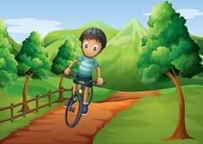 El ir biking del muchacho a la granja Fotografía de archivo libre de regalías