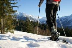 El ir de excursión del zapato de la nieve imagenes de archivo