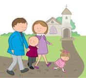El ir a la iglesia ilustración del vector