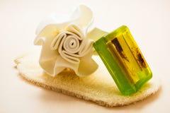 El jabón de la esponja del cuerpo del primer y friega el guante Imagenes de archivo
