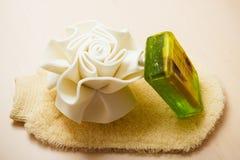 El jabón de la esponja del cuerpo del primer y friega el guante Fotos de archivo libres de regalías