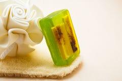 El jabón de la esponja del cuerpo del primer y friega el guante Fotografía de archivo