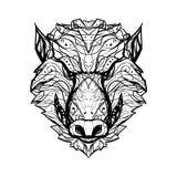 El jabalí enojado, agresivo/el logotipo blanco y negro del vector del aper- es stock de ilustración