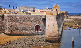 El Jadida in Morocco. Aerial view of Mazagan, El Jadida, Morocco. It is a Portuguese Fortified Port City registered as a UNESCO World Heritage Site Stock Images