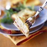 El jamón, el queso y la cebolleta tostaron el emparedado Imagen de archivo