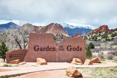 El jardín de dioses firma adentro Colorado Springs Imágenes de archivo libres de regalías