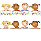 El jardín de la infancia embroma insignia del alfabeto Fotos de archivo