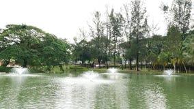 El jardín del lago Permaisuri es uno del parque famoso en Cheras almacen de metraje de vídeo