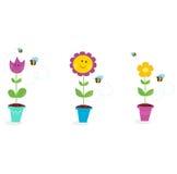 El jardín del resorte florece - el tulipán, el girasol y la margarita ilustración del vector
