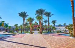 El jardín en Sharm el Sheikh, Egipto de la palma Imagen de archivo libre de regalías