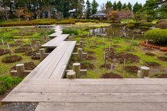 El jardín japonés conmemorativo de Fujita en Hirosaki, Japón foto de archivo