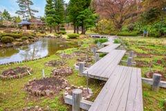 El jardín japonés conmemorativo de Fujita en Hirosaki, Japón imagen de archivo
