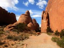 El jardín Trailhead de los diablos arquea el parque nacional Moab Utah Foto de archivo libre de regalías