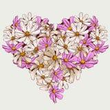 El jardín de la tarjeta del día de San Valentín del verano florece el corazón Imagenes de archivo
