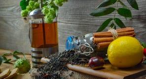 El jarro caliente del té en un fondo de madera rodeado por otoño da fruto Imagen de archivo libre de regalías
