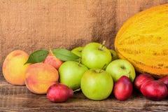 El jarro y frutas, aún vida del viejo alfarero Imagenes de archivo