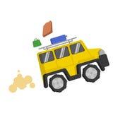 El jeep amarillo de la imagen monta rápidamente y de él las maletas multicoloras de la caída Humo, niebla con humo, polvo, arena Fotos de archivo libres de regalías