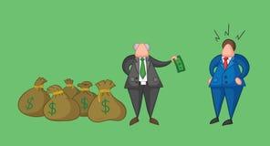 El jefe a mano del vector tiene mucho dinero con los sacos y paga un dinero a su trabajador del hombre de negocios libre illustration